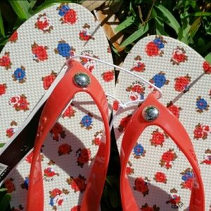 Coach Red and Blue Floral Flip Flops